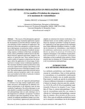 Les méthodes probabilistes en phylogénie moléculaire: (1) Les modèles d'évolution des séquences et le maximum de vraisemblance