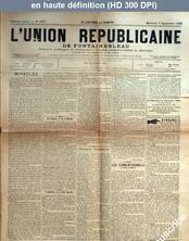 L' UNION REPUBLICAINE DE FONTAINEBLEAU  numéro 1577 du 07 septembre 1892
