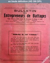 BULLETIN DES ENTREPRENEURS DE BATTAGES numéro 1 du 01 janvier 1941