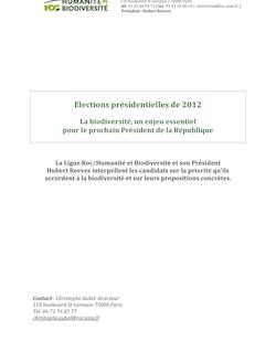 Questionnaire Présidentielles 2012