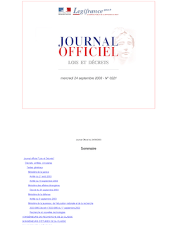 Journal officiel n°221 du 24 septembre 2003