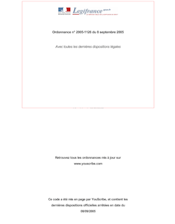 Ordonnance n° 2005-1126 du 8 septembre 2005