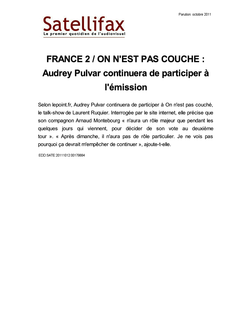 article du 12 octobre 2011 - FRANCE 2 / ON N'EST PAS COUCHE : Audrey Pulvar continuera de participer à l'émission