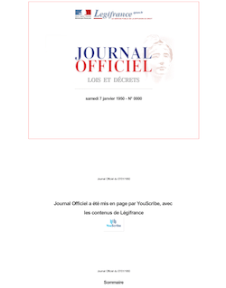 Journal officiel du 7 janvier 1950