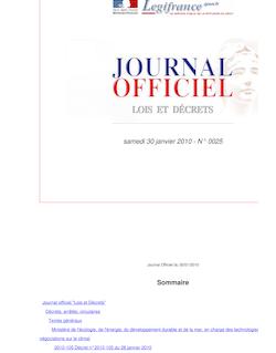 JORF n°0025 du 30 janvier 2010