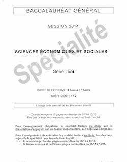 Sujet bac 2014 (Pondichéry) - Série ES - SES (obligatoire et spécialité)