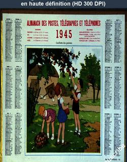calendrier des postes du 01 janvier 1945