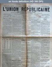L' UNION REPUBLICAINE DE FONTAINEBLEAU  numéro 1937 du 27 mars 1896