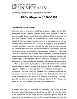 ARON (Raymond) 1905-1983