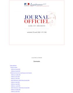 Journal officiel n°196 du 25 août 2000