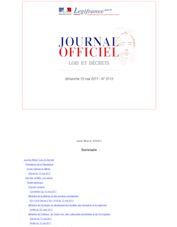 Journal officiel n°0113 du 15 mai 2011