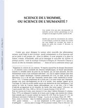 Science de l'homme ou science de l'Humanité