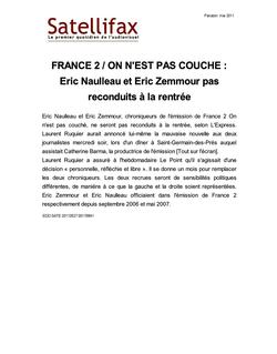 article du 27 mai 2011 - FRANCE 2 / ON N'EST PAS COUCHE : Eric Naulleau et Eric Zemmour pas reconduits à la rentrée