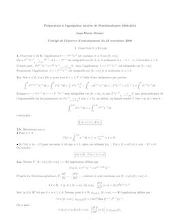 Preparation a l'agregation interne de Mathematiques