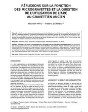Réflexions sur la fonction des microgravettes et la question de l'utilisation de l'arc au grevettien ancien