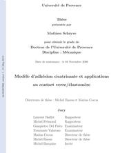 Modèle d'adhésion cicatrisante et applications au contact verre/élastomère