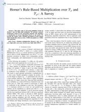 Horner's Rule-Based Multiplication over Fp and Fp^n: A Survey