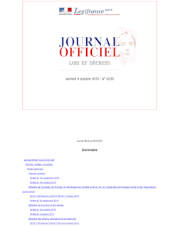 Journal officiel n°0235 du 9 octobre 2010