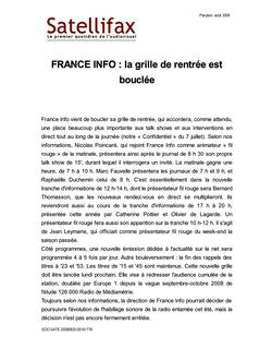 article du 25 août 2009 - FRANCE INFO : la grille de rentrée est bouclée