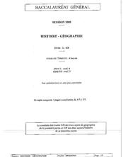 Sujet du bac L 2008: Histoire Géographie