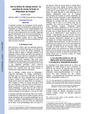 Sur la notion de champ lexical : la question de norme lexicale en didactique du lexique