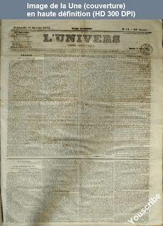 L' UNIVERS  numéro 14 du 15 janvier 1854