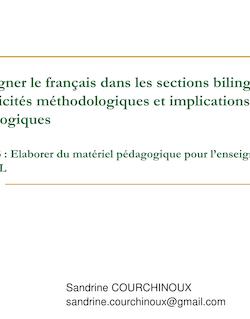 Enseigner le français dans les sections bilingues : spécificités ...