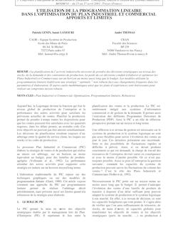 UTILISATION DE LA PROGRAMMATION LINEAIRE DANS L'OPTIMISATION DU ...