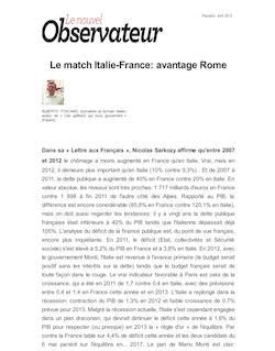 Le match Italie-France: avantage Rome