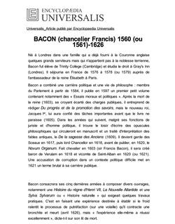 BACON (chancelier Francis) 1560 (ou 1561)-1626