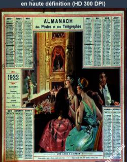 calendrier des postes du 01 janvier 1922
