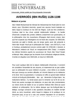 AVERROÈS (IBN RUŠD) 1126-1198