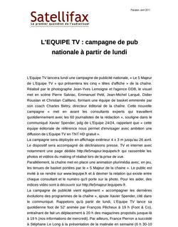article du 15 avril 2011 - L'EQUIPE TV : campagne de pub nationale à partir de lundi