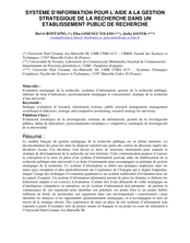 Système d'information pour l'aide à la gestion stratégique de la recherche dans un établissement public de recherche