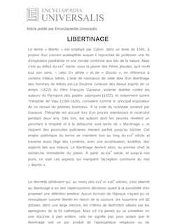 Définition de libertinage