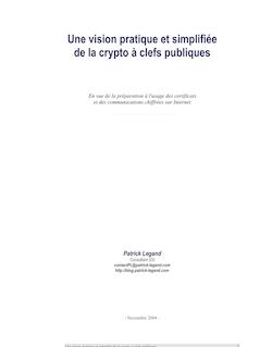 Une vision pratique et simplifiée de la crypto à clefs ... - Patrick Legand