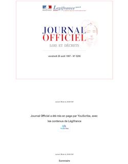 JORF n°200 du 29 août 1997