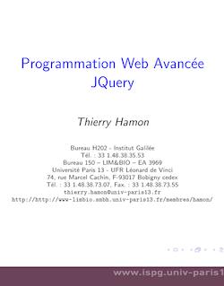 Programmation Web Avancée JQuery