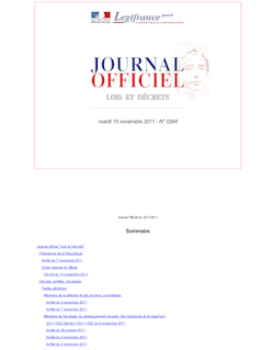 Journal officiel n°0264 du 15 novembre 2011