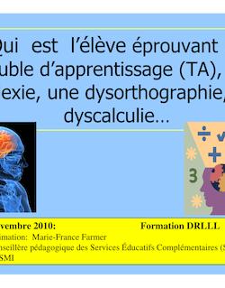 PDF_ Qui est l'eleve TA dyslexie, dysorte,dyscalc