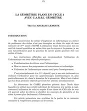 La géométrie plane en cycle 3 avec Cabri Géomètre