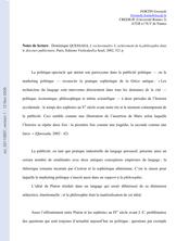 Notes de lecture : Dominique QUESSADA, L'esclavemaître. L'achèvement de la philosophie dans le discours publicitaire (Questions de communication - à paraître)