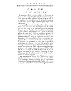Éloge de Abraham Moivre par Grandjean de Fouchy - Histoire de l ...