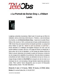 « Le Portrait de Dorian Gray », d'Albert Lewin