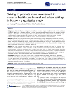 Striving to promote male involvement in maternal health care in rural and urban settings in Malawi - a qualitative study
