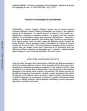 Structure et sémantique de la focalisation