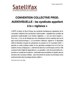article du 17 décembre 2010 - CONVENTION COLLECTIVE PROD. AUDIOVISUELLE : les syndicats appellent à la « vigilance »