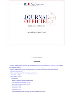 JORF n°99 du 27 avril 2002