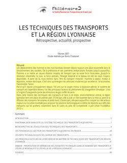 LES TECHNIQUES DES TRANSPORTS ET LA RÉGION LYONNAISE