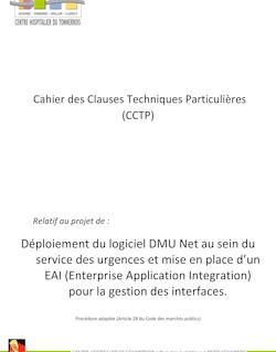 CAHIER DES CLAUSES TECHNIQUES PARTICULIERES (CCTP